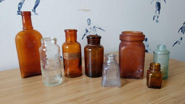 Lote botes cristal y farmacia antiguos