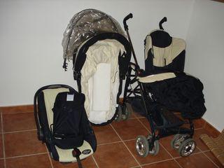 conjunto de carro, maxicosi y capota