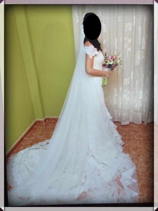 vestido de novia martha blanc y rosa clara de segunda mano por 350