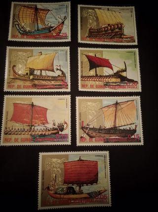lote de 7 sellos Rep. de Guinea Ecuatorial