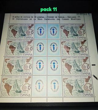 Hoja sellos correo de indias Espamer 77
