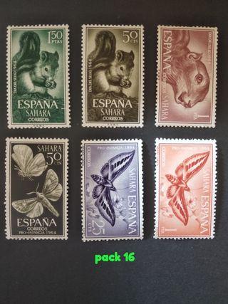 lote 6 sellos España dia del sello 1964