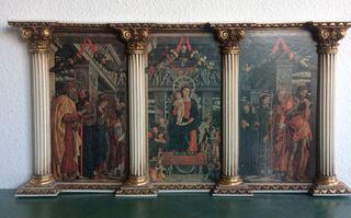 Antiguo tríptico retablo de iglesia San Zenón