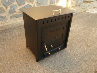 Estufa de leña con horno en tapadera, 66X60X48