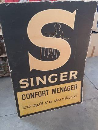 antiguo cartel vintage de máquinas de coser Singer