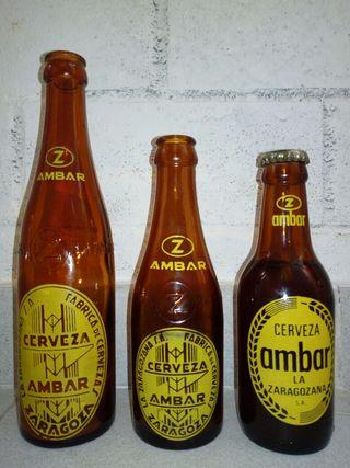 Botellas vacias de cerveza antiguas para coleccion