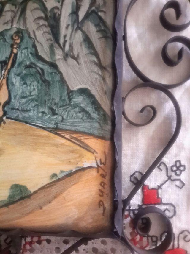 A . azulejo enmarcado en forjilla firmado Duarte