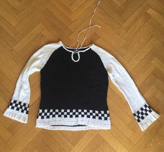 Jersey blanco y negro punto