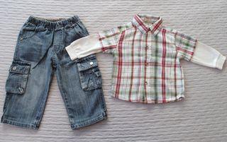 Pantalón y camisa niño talla 12 meses