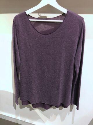 T-shirt manches longues violet chiné