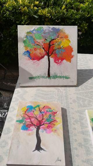 Lote cuadros pintados a mano