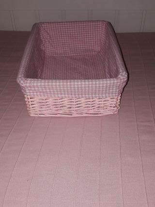 Cesta rosa con funda