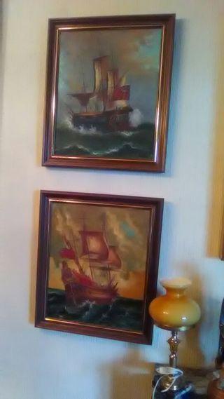 dos cuadros de barcos marcos madera