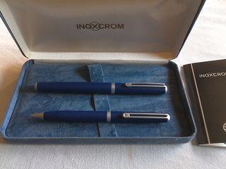 Pluma estilográfica y bolígrafo INOXCROM nuevos