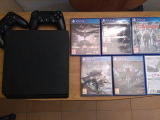 PlayStation 4 Slim de 1 Tera + Juegos + 2 Mandos