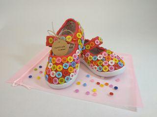 Zapatos de lona rojos niña / bebe con botones