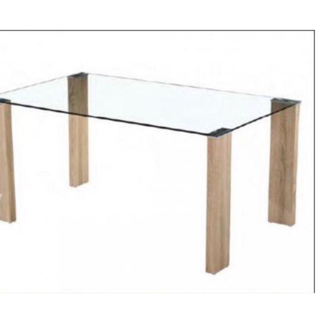 Mesa comedor cristal patas madera de segunda mano por 50 € en ...