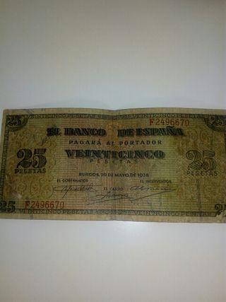 billete veinticinco pesetas