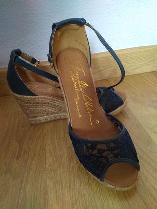 Sin Segunda Cuña Con Mano color De sandalias Estrenar Azul Marino E2YHD9IW