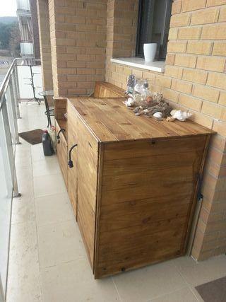 mueble balcón jardín baúl banco guardad cosas