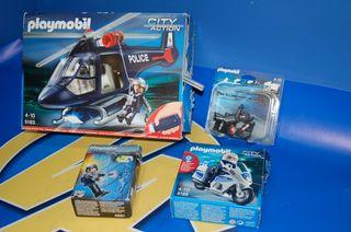 Lote Playmobil-Helicoptero policía y mas-4 cajas