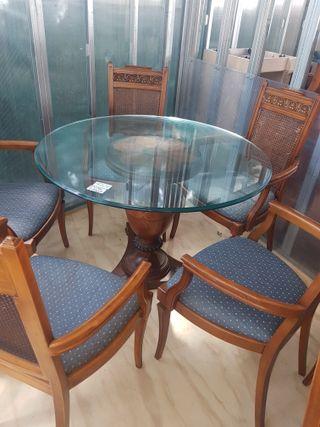 mesa madera con cristal 1.10 con 6 sillas