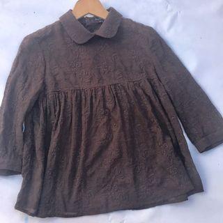 Blusón cuello redondo talla 44 marrón oscuro PdH