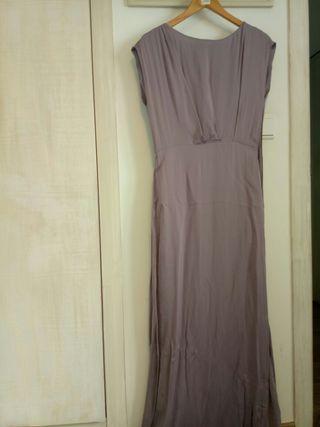Vestido largo lila talla M Mango