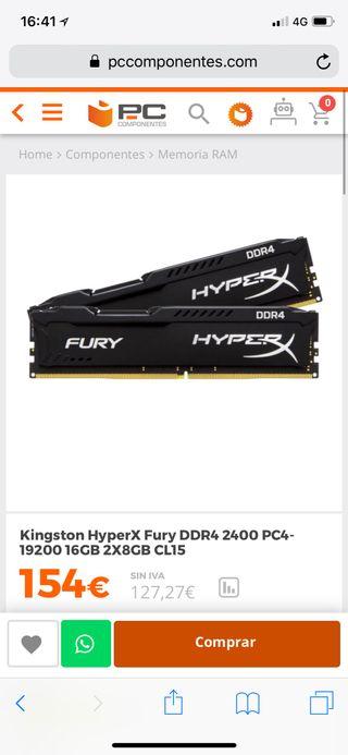 Ddr4 8gb x2 Hyperx fury Kingston