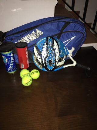 Raqueta,mochila y bolas de padel