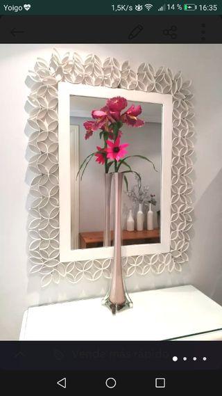 JARRÓN ALTO EN CRISTAL Rosa palo con orquídeas