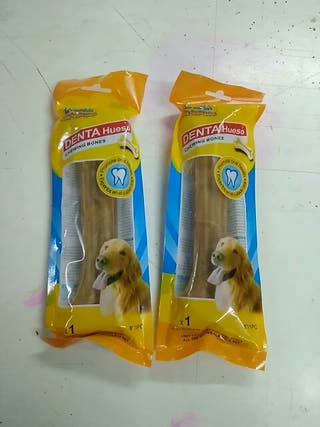 2x Hueso Masticable Perro Dental Cuero Buey 20cm