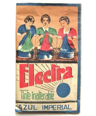 SOBRE DE TINTES ROPA ELECTRA AZUL IMPERIAL AÑOS 50