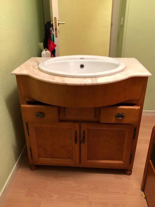Mueble de ba o con encimera de m rmol de segunda mano por 120 en pinto en wallapop - Muebles de bano segunda mano ...