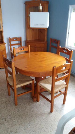 Mesa comedor madera de segunda mano en wallapop for Comedor completo con mesa de carree