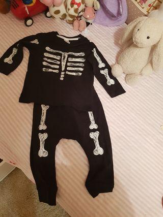 camiseta & pantalon halloween unisex 6-9 meses