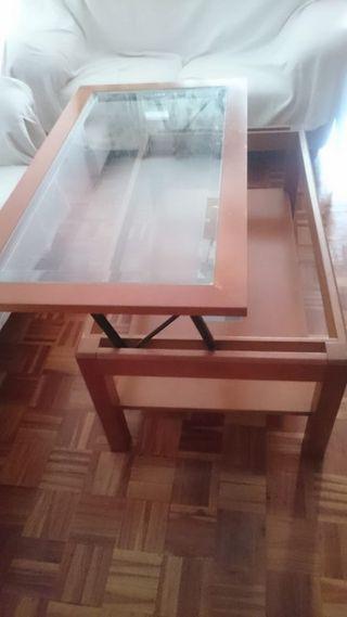 Mesa baja de Salón color cerezo, elevable