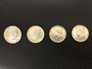 Monedas dolar plata: uno, medio y cuarto