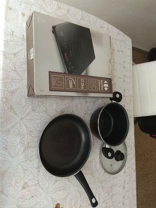 Placa portátil inducción, sarten y olla