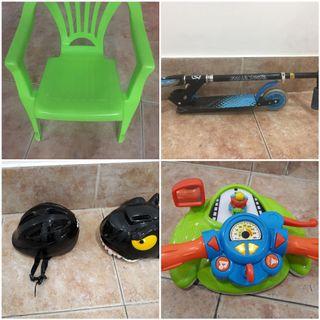 cascos silla patin y juguetes.