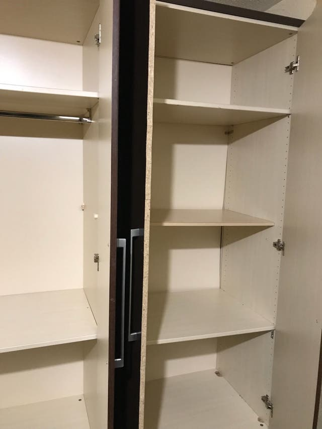 Wardrobe, chest of drawers and shelves