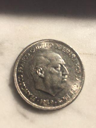 Moneda 5 pesetas 1949, en perfecto estado.