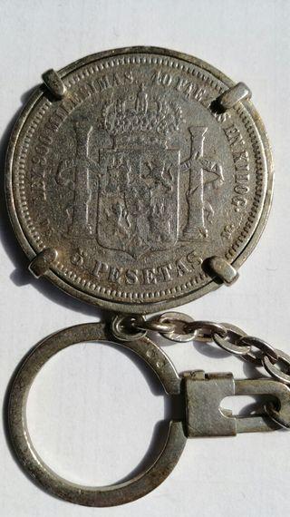 Moneda de plata 5 pesetas Alfonso XII