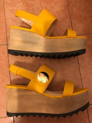 Segunda Estrenar Cuña A Amarillas Sandalias Por De 25 Nuevas Mano dCeBxWQro