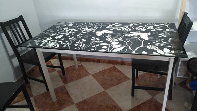 Mesa comedor y cristal ikea de segunda mano por 25 € en El Puerto de ...