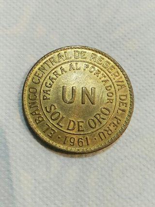 Moneda de 1 sol de oro peruano 1961