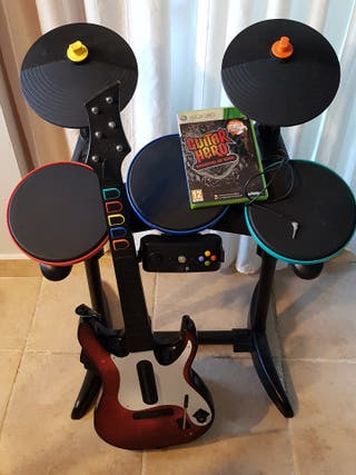 Guitar Hero XBOX 360. Juego, Guitarra y batería.