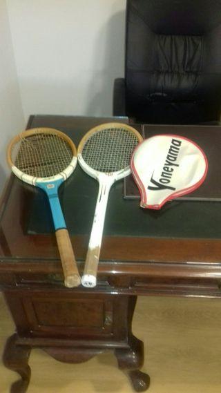 raquetas de tenis madera vintage.