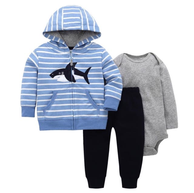 3 pieces hooded baby tracksuits