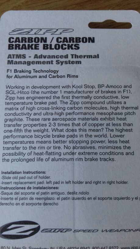 Pastillas o zapatas de freno carbono Zipp